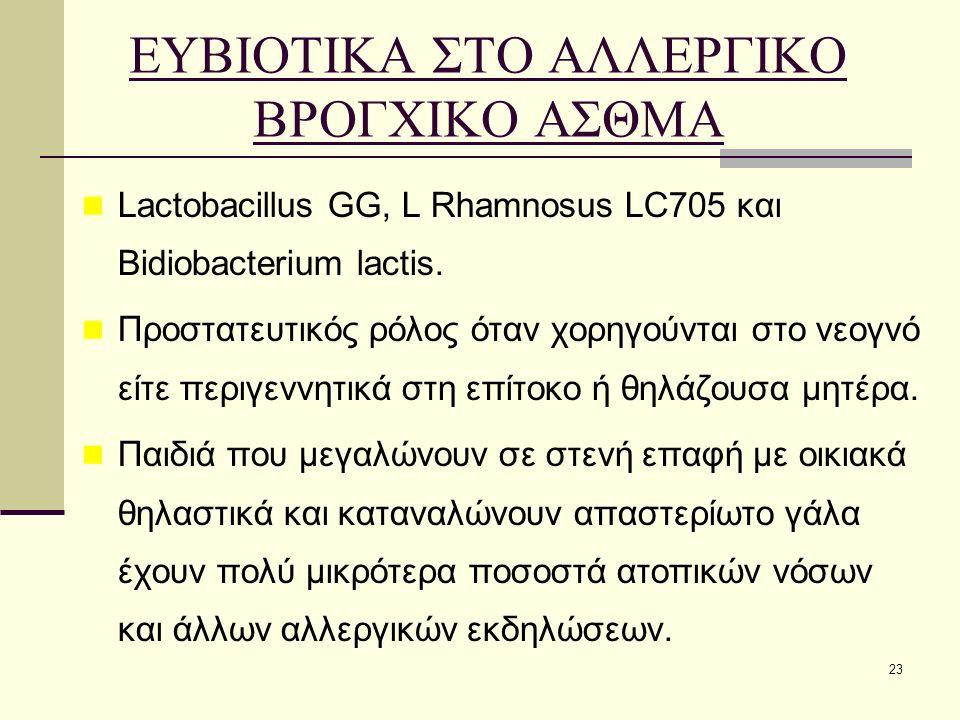 23 ΕΥΒΙΟΤΙΚΑ ΣΤΟ ΑΛΛΕΡΓΙΚΟ ΒΡΟΓΧΙΚΟ ΑΣΘΜΑ Lactobacillus GG, L Rhamnosus LC705 και Bidiobacterium lactis. Προστατευτικός ρόλος όταν χορηγούνται στο νεο