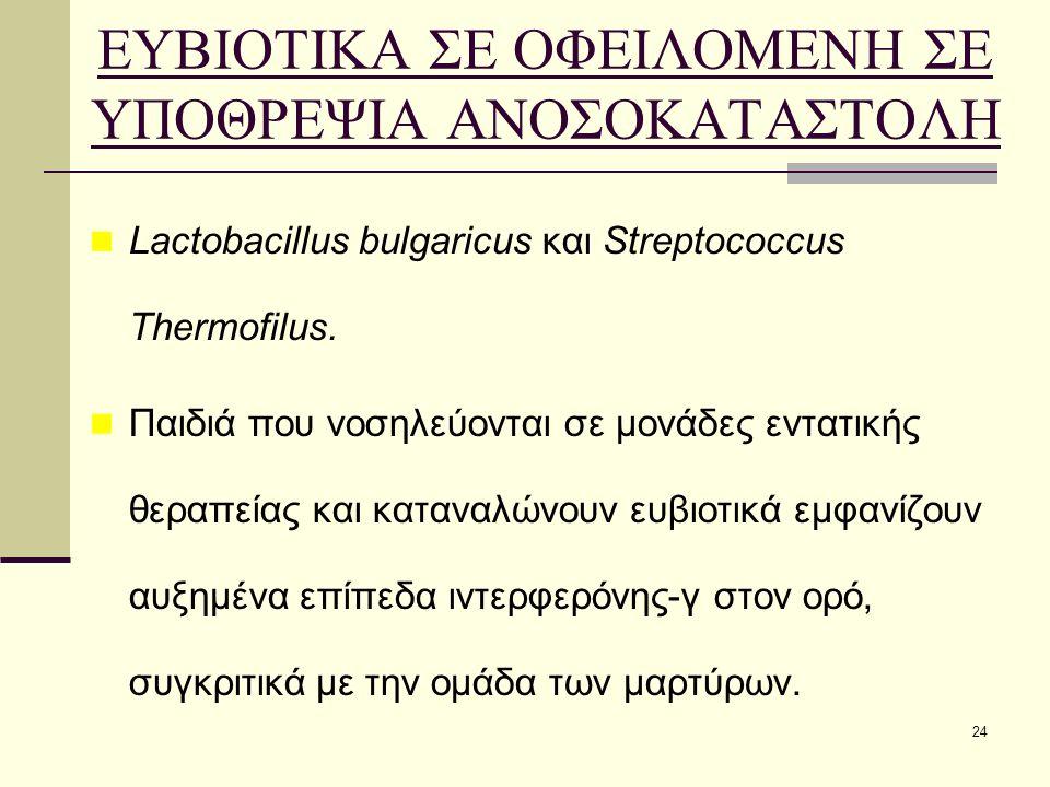 24 ΕΥΒΙΟΤΙΚΑ ΣΕ ΟΦΕΙΛΟΜΕΝΗ ΣΕ ΥΠΟΘΡΕΨΙΑ ΑΝΟΣΟΚΑΤΑΣΤΟΛΗ Lactobacillus bulgaricus και Streptococcus Thermofilus. Παιδιά που νοσηλεύονται σε μονάδες εντα