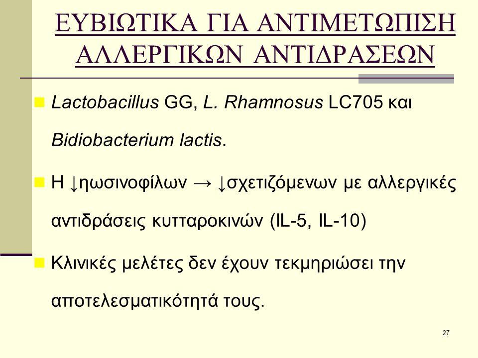 27 ΕΥΒΙΩΤΙΚΑ ΓΙΑ ΑΝΤΙΜΕΤΩΠΙΣΗ ΑΛΛΕΡΓΙΚΩΝ ΑΝΤΙΔΡΑΣΕΩΝ Lactobacillus GG, L. Rhamnosus LC705 και Bidiobacterium lactis. Η ↓ηωσινοφίλων → ↓σχετιζόμενων με