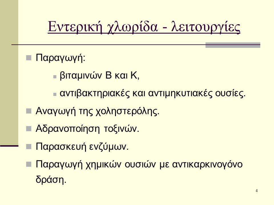 4 Εντερική χλωρίδα - λειτουργίες Παραγωγή: βιταμινών Β και Κ, αντιβακτηριακές και αντιμηκυτιακές ουσίες. Αναγωγή της χοληστερόλης. Αδρανοποίηση τοξινώ