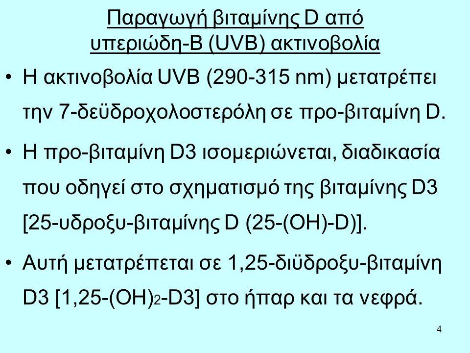 4 Παραγωγή βιταμίνης D από υπεριώδη-Β (UVB) ακτινοβολία Η ακτινοβολία UVB (290-315 nm) μετατρέπει την 7-δεϋδροχολοστερόλη σε προ-βιταμίνη D. Η προ-βιτ