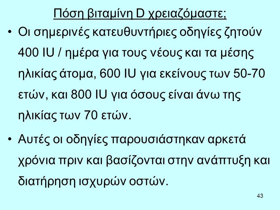 43 Πόση βιταμίνη D χρειαζόμαστε; Οι σημερινές κατευθυντήριες οδηγίες ζητούν 400 IU / ημέρα για τους νέους και τα μέσης ηλικίας άτομα, 600 IU για εκείν