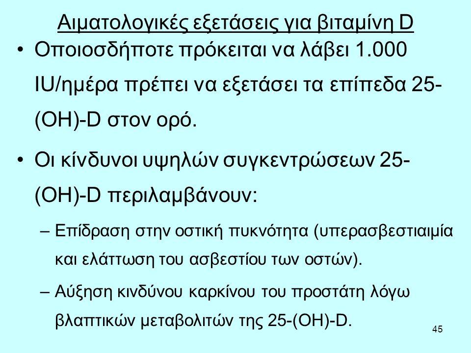 45 Αιματολογικές εξετάσεις για βιταμίνη D Οποιοσδήποτε πρόκειται να λάβει 1.000 IU/ημέρα πρέπει να εξετάσει τα επίπεδα 25- (OH)-D στον ορό. Οι κίνδυνο