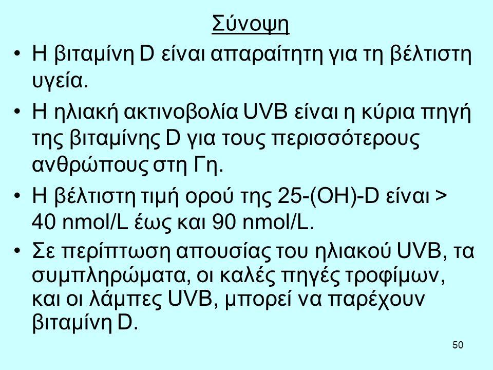 50 Σύνοψη Η βιταμίνη D είναι απαραίτητη για τη βέλτιστη υγεία. Η ηλιακή ακτινοβολία UVB είναι η κύρια πηγή της βιταμίνης D για τους περισσότερους ανθρ