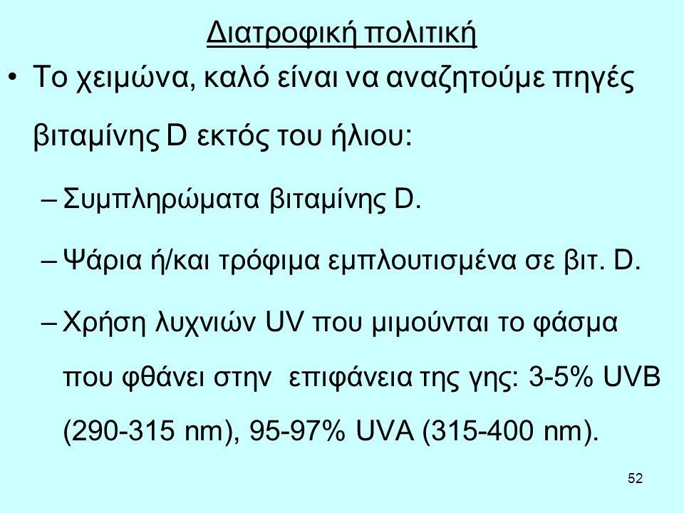 52 Διατροφική πολιτική Το χειμώνα, καλό είναι να αναζητούμε πηγές βιταμίνης D εκτός του ήλιου: –Συμπληρώματα βιταμίνης D. –Ψάρια ή/και τρόφιμα εμπλουτ