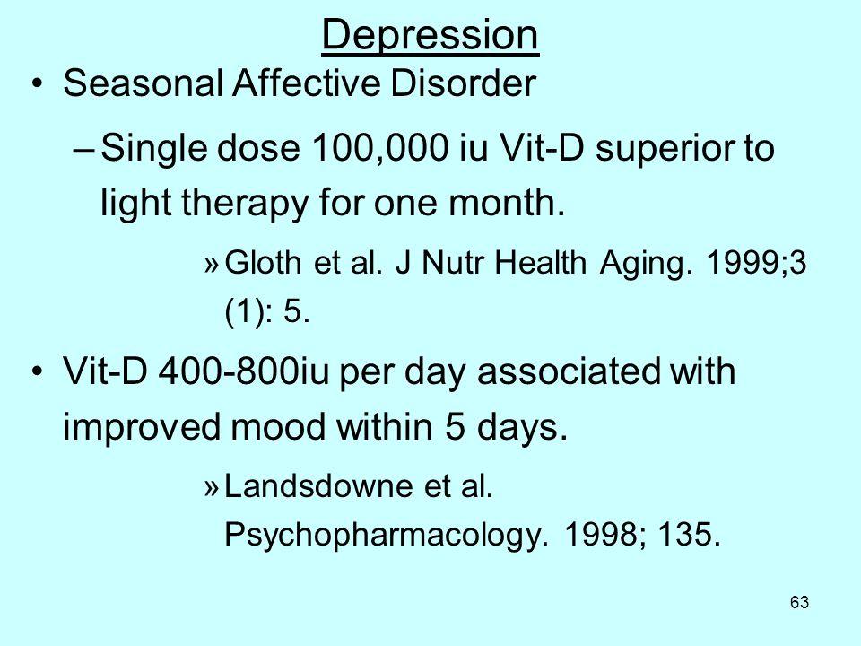 63 Depression Seasonal Affective Disorder –Single dose 100,000 iu Vit-D superior to light therapy for one month.
