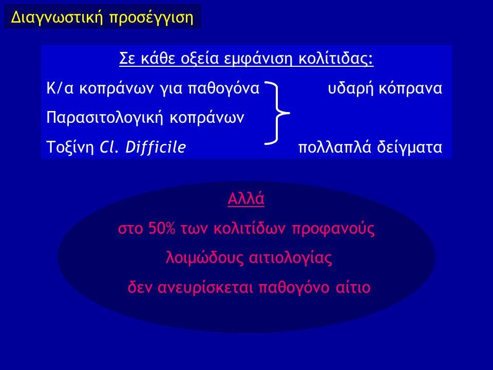Σε κάθε οξεία εμφάνιση κολίτιδας: Κ/α κοπράνων για παθογόνα υδαρή κόπρανα Παρασιτολογική κοπράνων Τοξίνη Cl. Difficile πολλαπλά δείγματα Διαγνωστική π