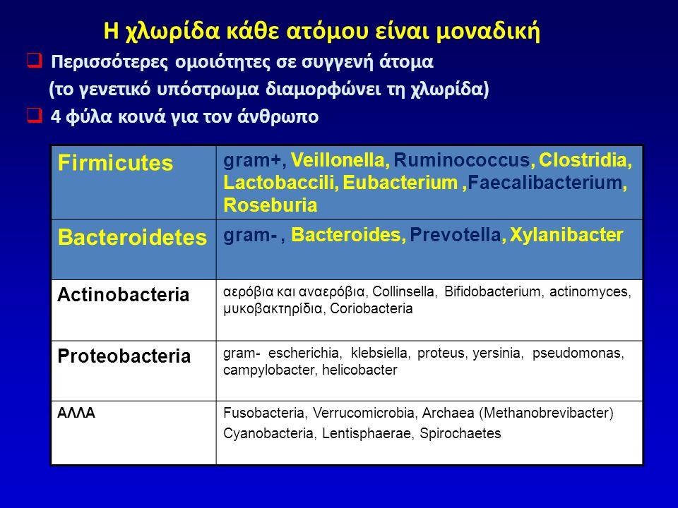 Διαταραχές χλωρίδας σε ΣΕΕ Lee BJ, J Neurogastro Motil 2011;17:252-266 ΣΕΕ-ΔΙΑΡΡΟΙΑ ↓Lactobacilli ↑Clostridia, Streptococci, Enterobacteria ↓ Bifidobacteria ΣΕΕ-ΔΥΣΚΟΙΛΙΟΤΗΤΑ ↑ Veillonella ↑ Clostridia Βακτηριδιακή υπερανάπτυξη στο λεπτό έντερο 4% - 78% των ασθενών με ΣΕΕ