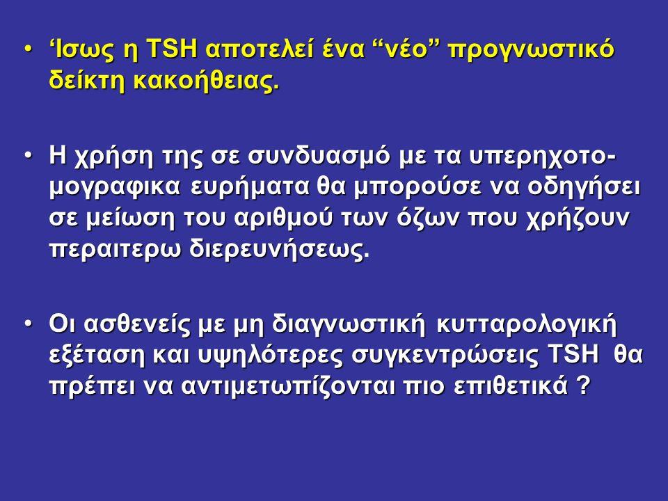 'Ισως η TSH αποτελεί ένα νέο προγνωστικό δείκτη κακοήθειας.'Ισως η TSH αποτελεί ένα νέο προγνωστικό δείκτη κακοήθειας.