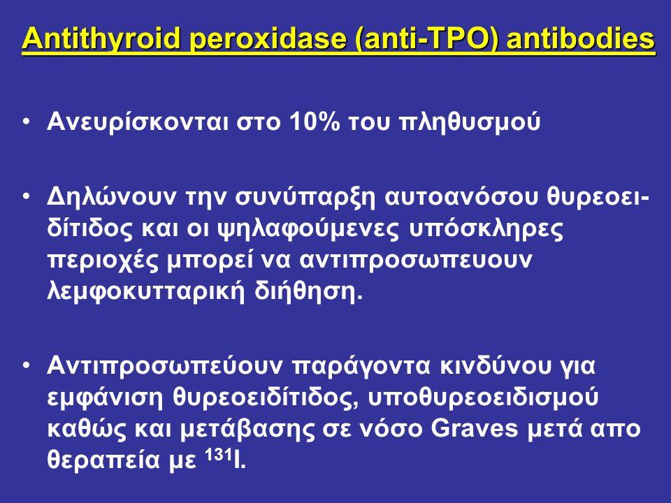 Antithyroid peroxidase (anti-TPO) antibodies Ανευρίσκονται στο 10% του πληθυσμού Δηλώνουν την συνύπαρξη αυτοανόσου θυρεοει- δίτιδος και οι ψηλαφούμενε