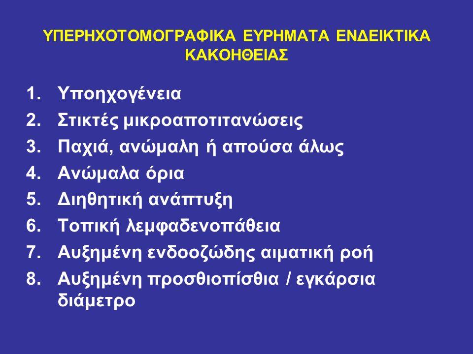ΥΠΕΡΗΧΟΤΟΜΟΓΡΑΦΙΚΑ ΕΥΡΗΜΑΤΑ ΕΝΔΕΙΚΤΙΚΑ ΚΑΚΟΗΘΕΙΑΣ 1.Υποηχογένεια 2.Στικτές μικροαποτιτανώσεις 3.Παχιά, ανώμαλη ή απούσα άλως 4.Ανώμαλα όρια 5.Διηθητική ανάπτυξη 6.Τοπική λεμφαδενοπάθεια 7.Αυξημένη ενδοοζώδης αιματική ροή 8.Αυξημένη προσθιοπίσθια / εγκάρσια διάμετρο