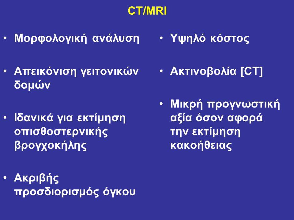 CT/MRI Μορφολογική ανάλυση Απεικόνιση γειτονικών δομών Ιδανικά για εκτίμηση οπισθοστερνικής βρογχοκήλης Ακριβής προσδιορισμός όγκου Υψηλό κόστος Ακτινοβολία [CT] Μικρή προγνωστική αξία όσον αφορά την εκτίμηση κακοήθειας