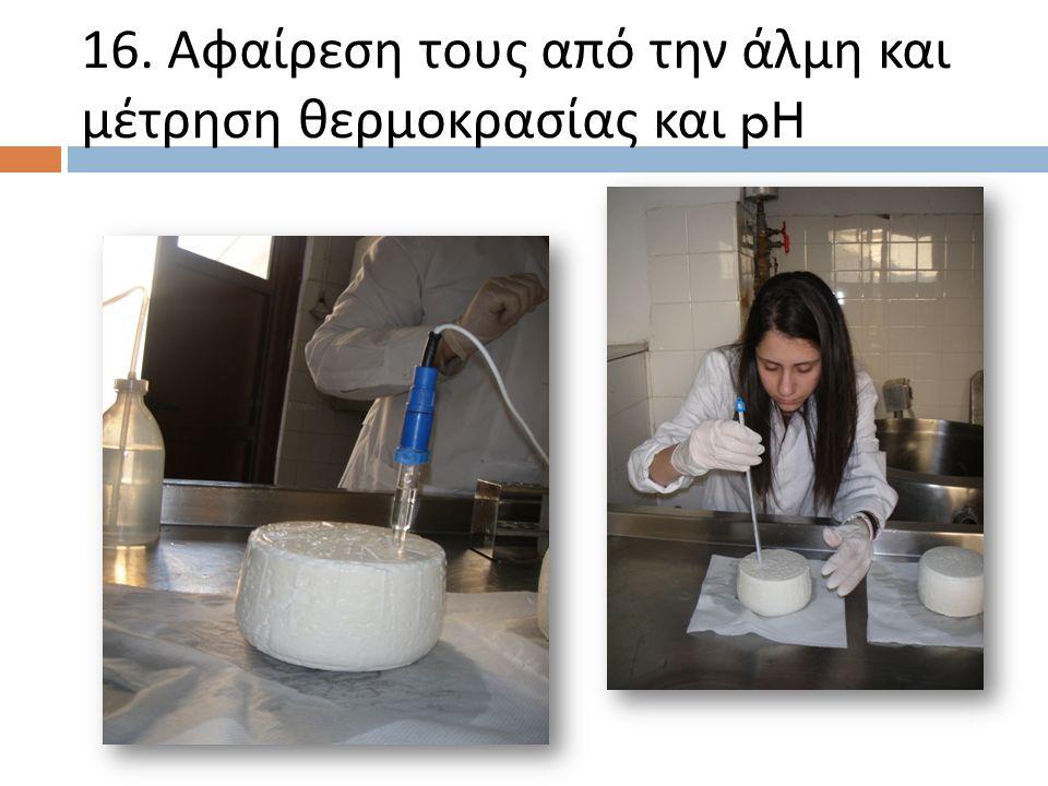 16. Αφαίρεση τους από την άλμη και μέτρηση θερμοκρασίας και pH