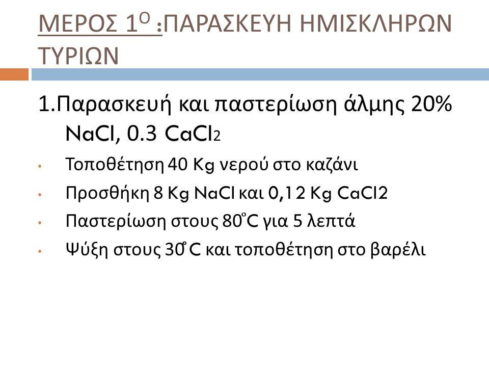 11. Ανάδευση μέσα στο τυρόγαλα με > έως 37 ̊ C για 20-25 λεπτά