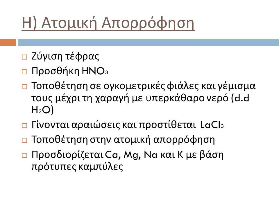  Ζύγιση τέφρας  Προσθήκη HNO 3  Τοποθέτηση σε ογκομετρικές φιάλες και γέμισμα τους μέχρι τη χαραγή με υπερκάθαρο νερό (d.d H 2 O)  Γίνονται αραιώσεις και προστίθεται LaCl 3  Τοποθέτηση στην ατομική απορρόφηση  Προσδιορίζεται Ca, Mg, Na και Κ με βάση πρότυπες καμπύλες