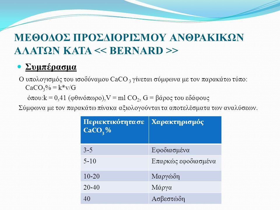 ΜΕΘΟΔΟΣ ΠΡΟΣΔΙΟΡΙΣΜΟΥ ΑΝΘΡΑΚΙΚΩΝ ΑΛΑΤΩΝ ΚΑΤΑ > Συμπέρασμα Ο υπολογισμός του ισοδύναμου CaCO 3 γίνεται σύμφωνα με τον παρακάτω τύπο: CaCO 3 % = k*v/G όπου:k = 0,41 (φθινόπωρο),V = ml CO 2, G = βάρος του εδάφους Σύμφωνα με τον παρακάτω πίνακα αξιολογούνται τα αποτελέσματα των αναλύσεων.