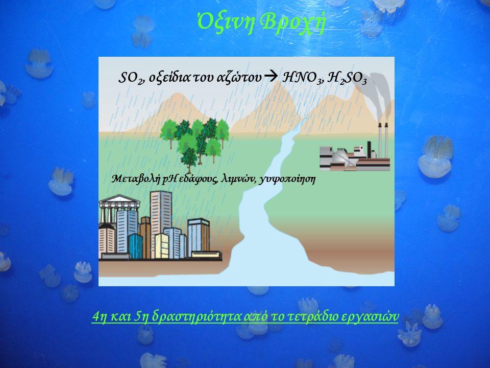 Όξινη Βροχή SO 2, οξείδια του αζώτου  ΗΝΟ 3, Η 2 SO 3 Μεταβολή pH εδάφους, λιμνών, γυψοποίηση 4η και 5η δραστηριότητα από το τετράδιο εργασιών