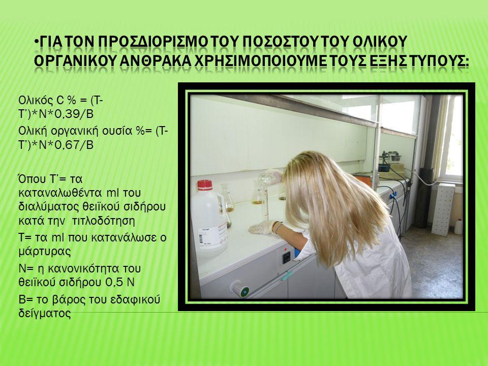 Ολικός C % = (T- T')*N*0,39/B Ολική οργανική ουσία %= (T- T')*N*0,67/B Όπου Τ'= τα καταναλωθέντα ml του διαλύματος θειϊκού σιδήρου κατά την τιτλοδότηση Τ= τα ml που κατανάλωσε ο μάρτυρας Ν= η κανονικότητα του θειϊκού σιδήρου 0,5 Ν Β= το βάρος του εδαφικού δείγματος