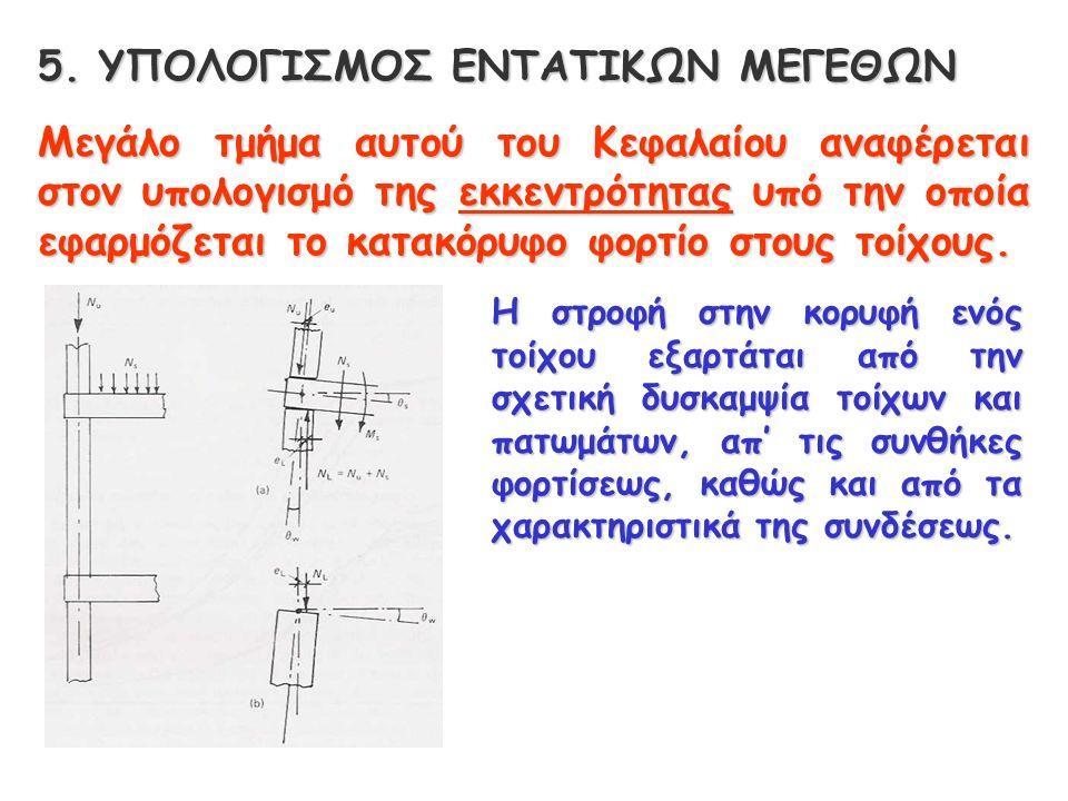 5. ΥΠΟΛΟΓΙΣΜΟΣ ΕΝΤΑΤΙΚΩΝ ΜΕΓΕΘΩΝ Μεγάλο τμήμα αυτού του Κεφαλαίου αναφέρεται στον υπολογισμό της εκκεντρότητας υπό την οποία εφαρμόζεται το κατακόρυφο