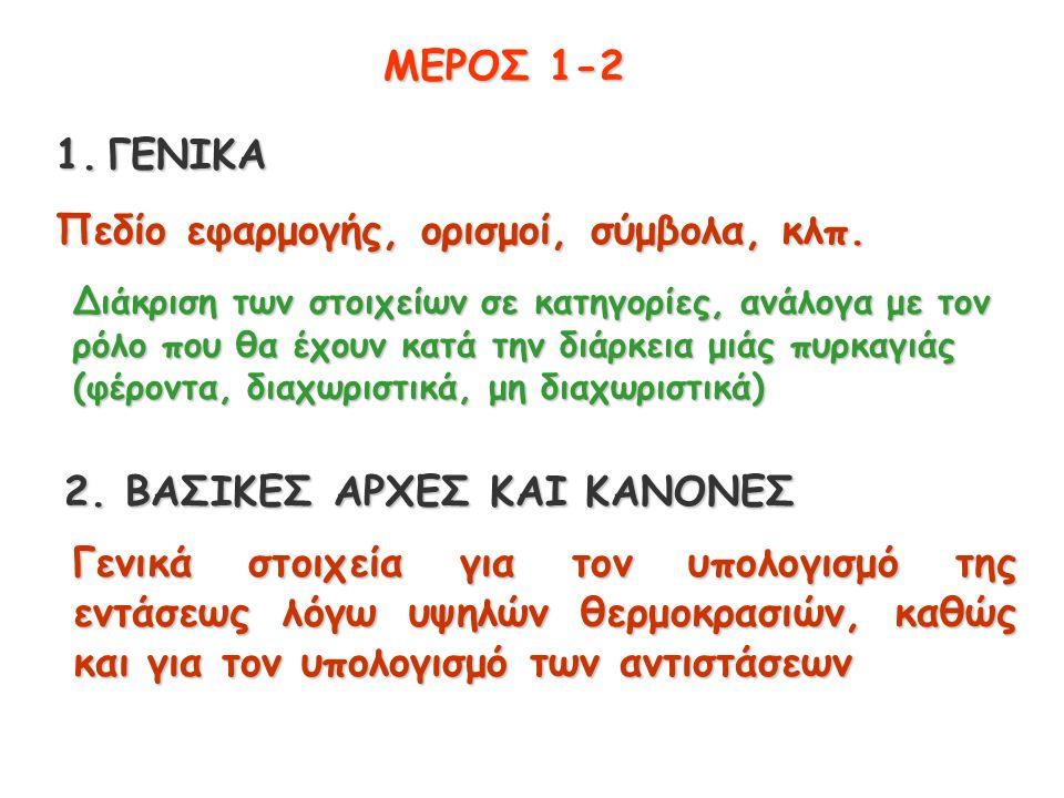 ΜΕΡΟΣ 1-2 1.ΓΕΝΙΚΑ Πεδίο εφαρμογής, ορισμοί, σύμβολα, κλπ.