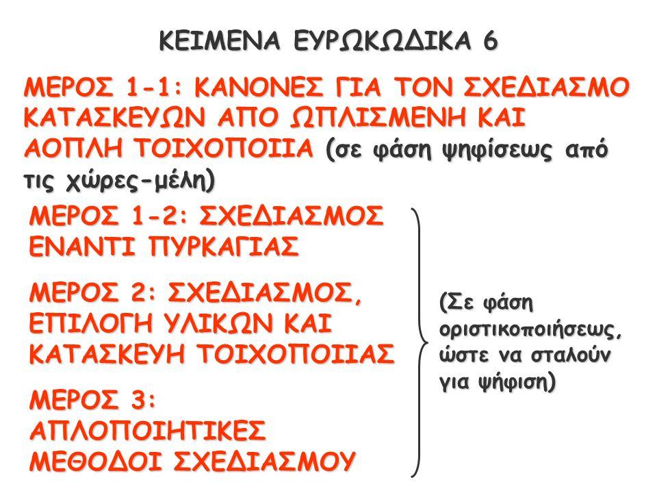 ΚΕΙΜΕΝΑ ΕΥΡΩΚΩΔΙΚΑ 6 ΜΕΡΟΣ 1-1: ΚΑΝΟΝΕΣ ΓΙΑ ΤΟΝ ΣΧΕΔΙΑΣΜΟ ΚΑΤΑΣΚΕΥΩΝ ΑΠΟ ΩΠΛΙΣΜΕΝΗ ΚΑΙ ΑΟΠΛΗ ΤΟΙΧΟΠΟΙΙΑ (σε φάση ψηφίσεως από τις χώρες-μέλη) ΜΕΡΟΣ 1-2: ΣΧΕΔΙΑΣΜΟΣ ΕΝΑΝΤΙ ΠΥΡΚΑΓΙΑΣ ΜΕΡΟΣ 2: ΣΧΕΔΙΑΣΜΟΣ, ΕΠΙΛΟΓΗ ΥΛΙΚΩΝ ΚΑΙ ΚΑΤΑΣΚΕΥΗ ΤΟΙΧΟΠΟΙΙΑΣ ΜΕΡΟΣ 3: ΑΠΛΟΠΟΙΗΤΙΚΕΣ ΜΕΘΟΔΟΙ ΣΧΕΔΙΑΣΜΟΥ (Σε φάση οριστικοποιήσεως, ώστε να σταλούν για ψήφιση)