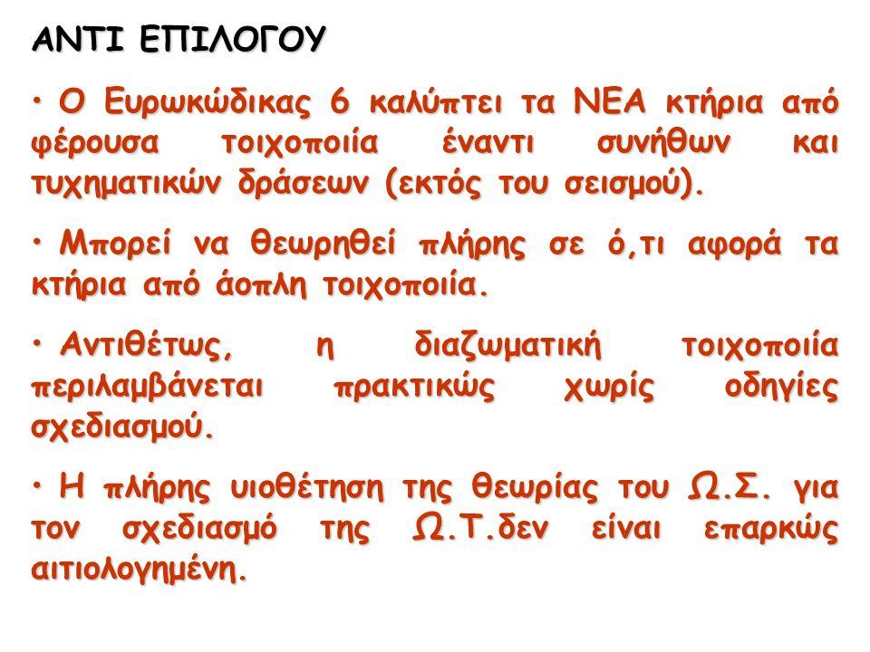 ΑΝΤΙ ΕΠΙΛΟΓΟΥ Ο Ευρωκώδικας 6 καλύπτει τα ΝΕΑ κτήρια από φέρουσα τοιχοποιία έναντι συνήθων και τυχηματικών δράσεων (εκτός του σεισμού).