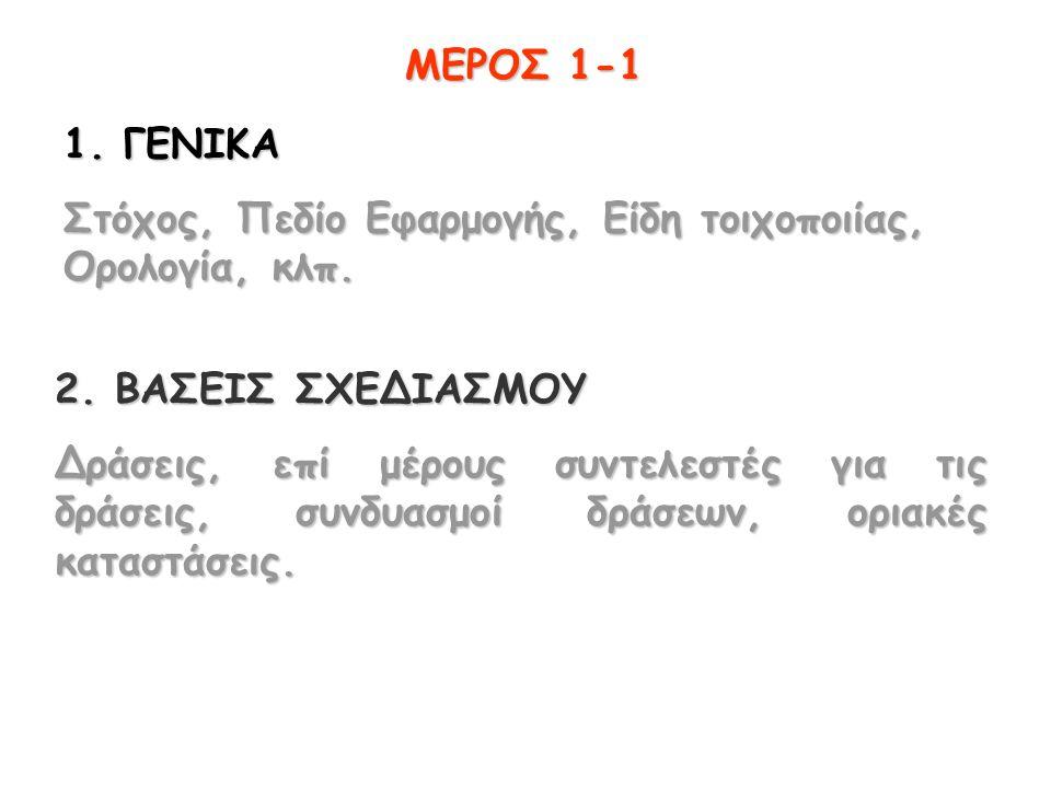 ΜΕΡΟΣ 1-1 1. ΓΕΝΙΚΑ Στόχος, Πεδίο Εφαρμογής, Είδη τοιχοποιίας, Ορολογία, κλπ.