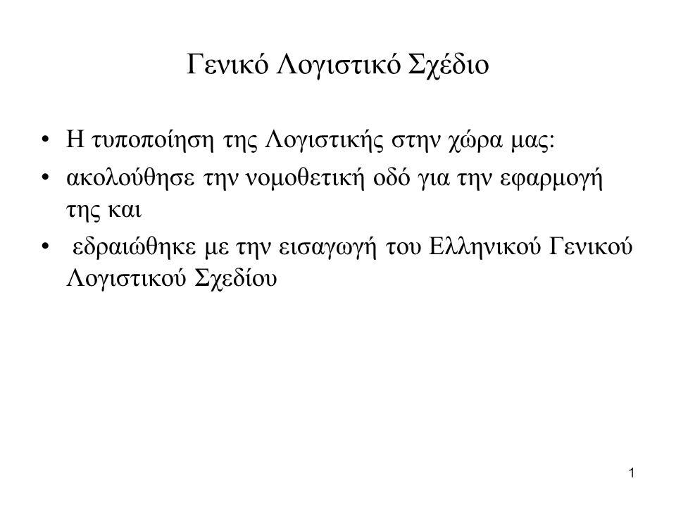 1 Γενικό Λογιστικό Σχέδιο Η τυποποίηση της Λογιστικής στην χώρα μας: ακολούθησε την νομοθετική οδό για την εφαρμογή της και εδραιώθηκε με την εισαγωγή του Ελληνικού Γενικού Λογιστικού Σχεδίου