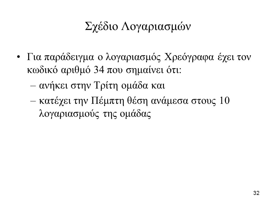 32 Σχέδιο Λογαριασμών Για παράδειγμα ο λογαριασμός Χρεόγραφα έχει τον κωδικό αριθμό 34 που σημαίνει ότι: –ανήκει στην Τρίτη ομάδα και –κατέχει την Πέμπτη θέση ανάμεσα στους 10 λογαριασμούς της ομάδας