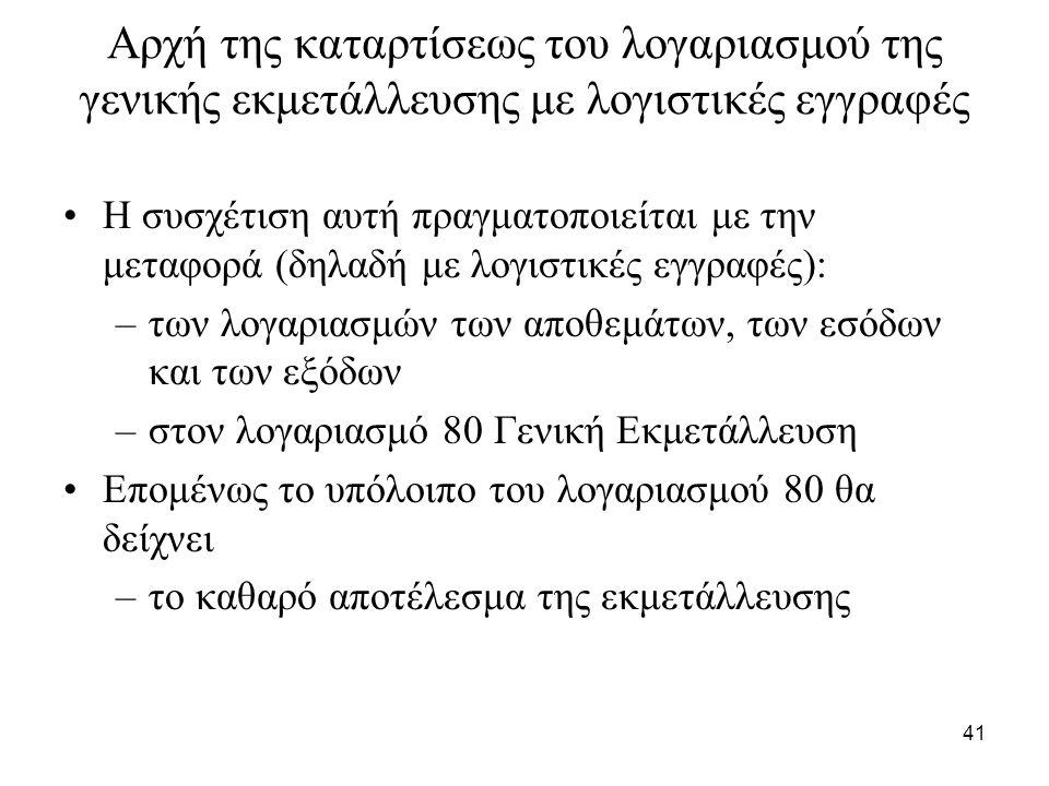 41 Αρχή της καταρτίσεως του λογαριασμού της γενικής εκμετάλλευσης με λογιστικές εγγραφές Η συσχέτιση αυτή πραγματοποιείται με την μεταφορά (δηλαδή με