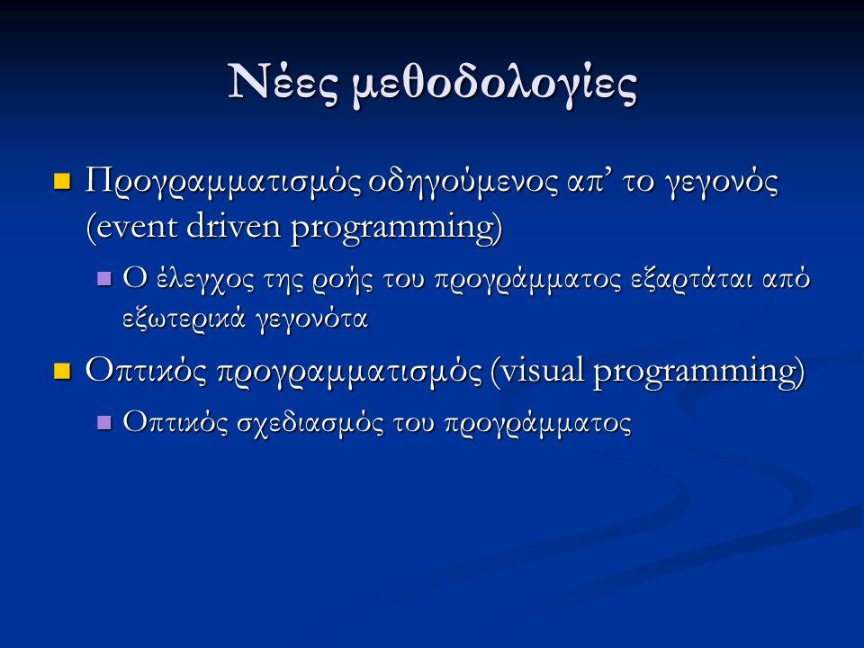 Νέες μεθοδολογίες Προγραμματισμός οδηγούμενος απ' το γεγονός (event driven programming) Προγραμματισμός οδηγούμενος απ' το γεγονός (event driven programming) Ο έλεγχος της ροής του προγράμματος εξαρτάται από εξωτερικά γεγονότα Ο έλεγχος της ροής του προγράμματος εξαρτάται από εξωτερικά γεγονότα Οπτικός προγραμματισμός (visual programming) Οπτικός προγραμματισμός (visual programming) Οπτικός σχεδιασμός του προγράμματος Οπτικός σχεδιασμός του προγράμματος