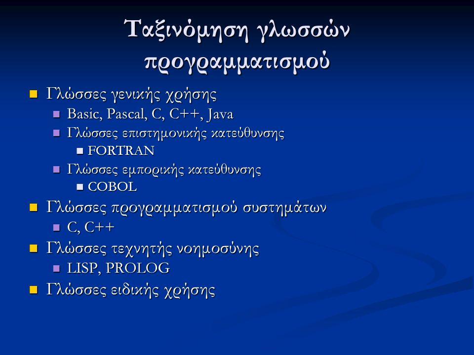 Ταξινόμηση γλωσσών προγραμματισμού Γλώσσες γενικής χρήσης Γλώσσες γενικής χρήσης Basic, Pascal, C, C++, Java Basic, Pascal, C, C++, Java Γλώσσες επιστημονικής κατεύθυνσης Γλώσσες επιστημονικής κατεύθυνσης FORTRAN FORTRAN Γλώσσες εμπορικής κατεύθυνσης Γλώσσες εμπορικής κατεύθυνσης COBOL COBOL Γλώσσες προγραμματισμού συστημάτων Γλώσσες προγραμματισμού συστημάτων C, C++ C, C++ Γλώσσες τεχνητής νοημοσύνης Γλώσσες τεχνητής νοημοσύνης LISP, PROLOG LISP, PROLOG Γλώσσες ειδικής χρήσης Γλώσσες ειδικής χρήσης