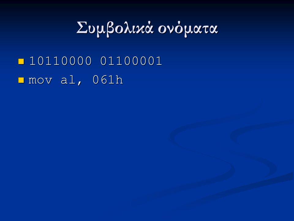 Συμβολικά ονόματα 10110000 01100001 10110000 01100001 mov al, 061h mov al, 061h