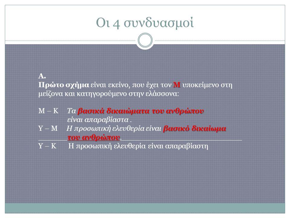 Οι 4 συνδυασμοί Μ βασικά δικαιώματα του ανθρώπου βασικό δικαίωμα του ανθρώπου A.