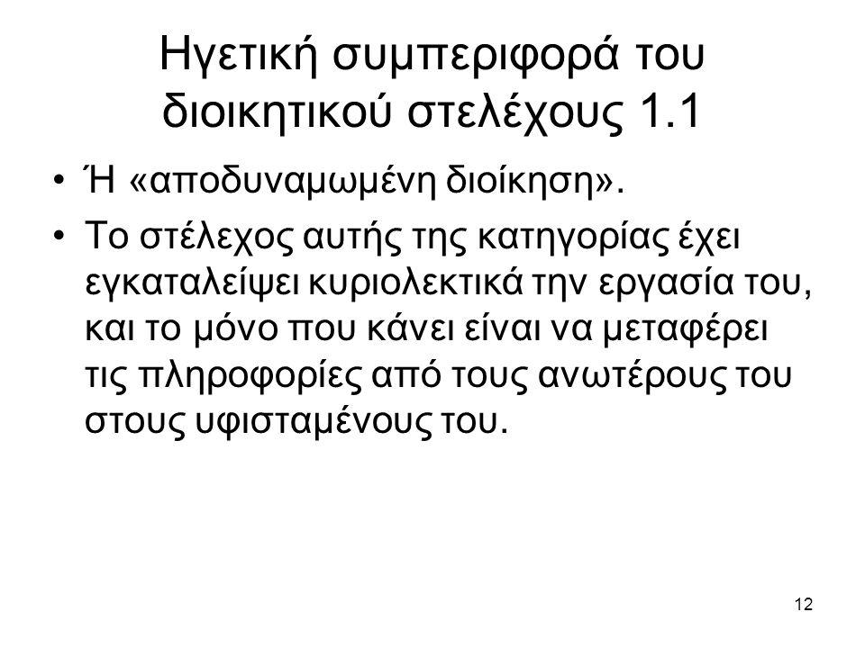 12 Ηγετική συμπεριφορά του διοικητικού στελέχους 1.1 Ή «αποδυναμωμένη διοίκηση».