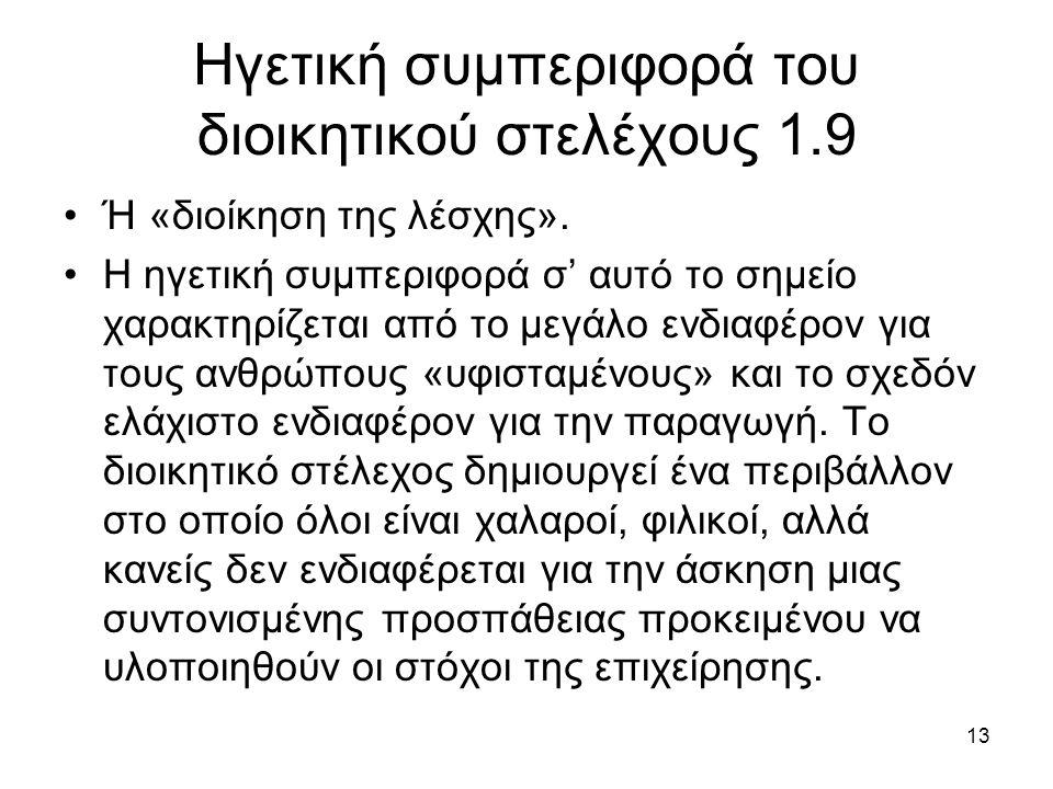 13 Ηγετική συμπεριφορά του διοικητικού στελέχους 1.9 Ή «διοίκηση της λέσχης».