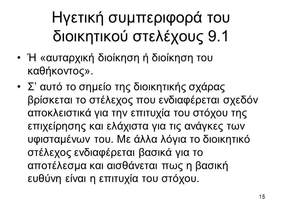 15 Ηγετική συμπεριφορά του διοικητικού στελέχους 9.1 Ή «αυταρχική διοίκηση ή διοίκηση του καθήκοντος».