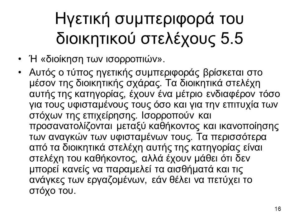 16 Ηγετική συμπεριφορά του διοικητικού στελέχους 5.5 Ή «διοίκηση των ισορροπιών».