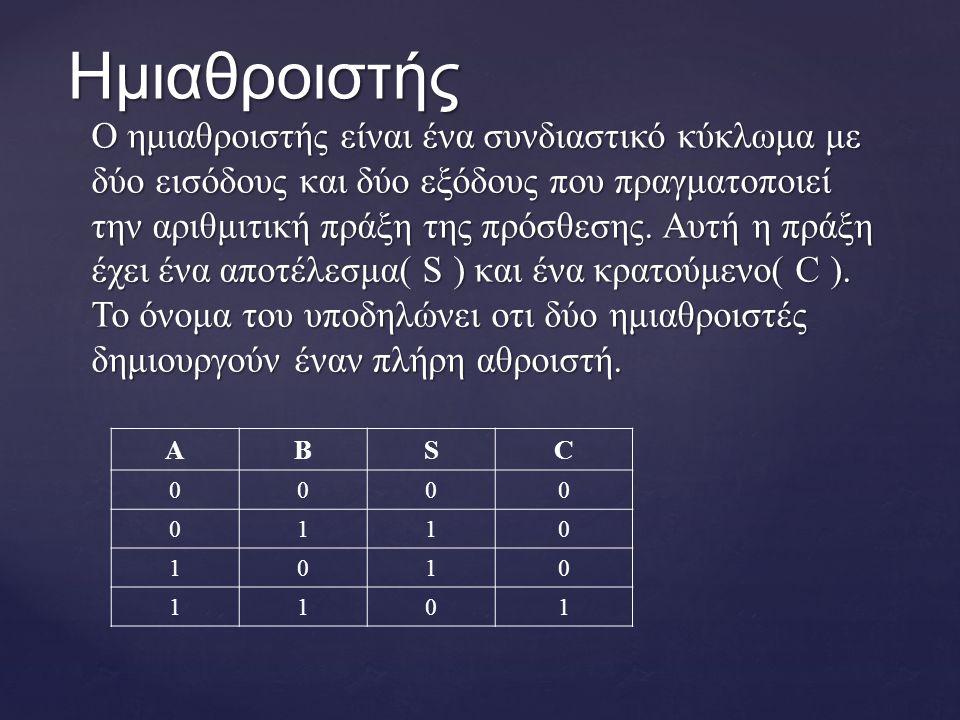 Ο ημιαθροιστής είναι ένα συνδιαστικό κύκλωμα με δύο εισόδους και δύο εξόδους που πραγματοποιεί την αριθμιτική πράξη της πρόσθεσης.