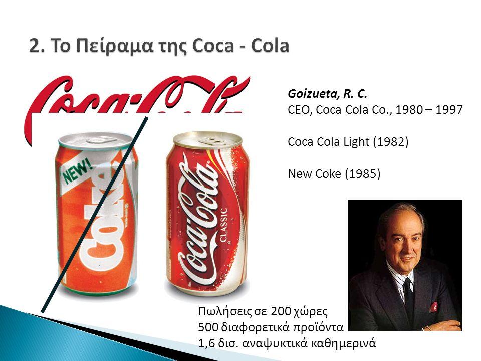 Goizueta, R. C. CEO, Coca Cola Co., 1980 – 1997 Coca Cola Light (1982) New Coke (1985) Πωλήσεις σε 200 χώρες 500 διαφορετικά προϊόντα 1,6 δισ. αναψυκτ