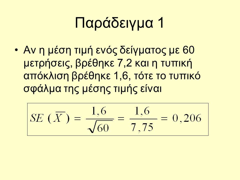 Παράδειγμα 1 Αν η μέση τιμή ενός δείγματος με 60 μετρήσεις, βρέθηκε 7,2 και η τυπική απόκλιση βρέθηκε 1,6, τότε το τυπικό σφάλμα της μέσης τιμής είναι