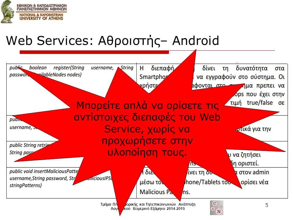 Τμήμα Πληροφορικής και Τηλεπικοινωνιών Ανάπτυξη Λογισμικού Χειμερινό Εξάμηνο 2014-2015 Web Services: Αθροιστής– Android Μπορείτε απλά να ορίσετε τις αντίστοιχες διεπαφές του Web Service, χωρίς να προχωρήσετε στην υλοποίηση τους.
