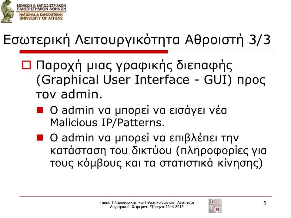  Παροχή μιας γραφικής διεπαφής (Graphical User Interface - GUI) προς τον admin.