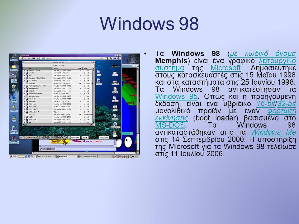 Windows 98 Τα Windows 98 (με κωδικό όνομα Memphis) είναι ένα γραφικό λειτουργικό σύστημα της Microsoft.