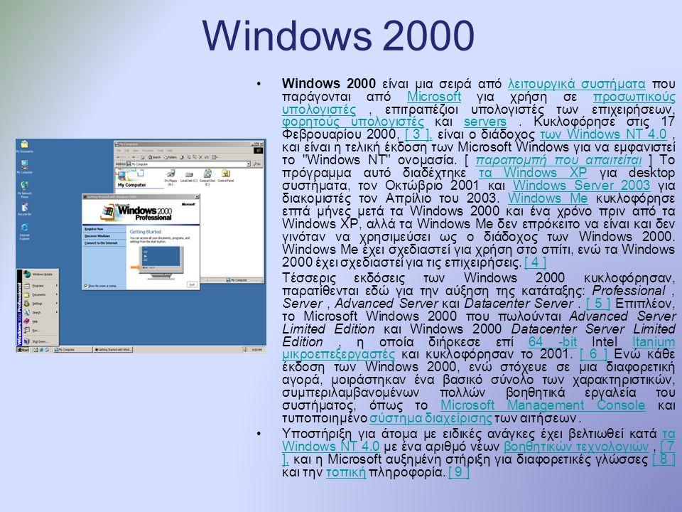 Windows 2000 Windows 2000 είναι μια σειρά από λειτουργικά συστήματα που παράγονται από Microsoft για χρήση σε προσωπικούς υπολογιστές, επιτραπέζιοι υπολογιστές των επιχειρήσεων, φορητούς υπολογιστές και servers.