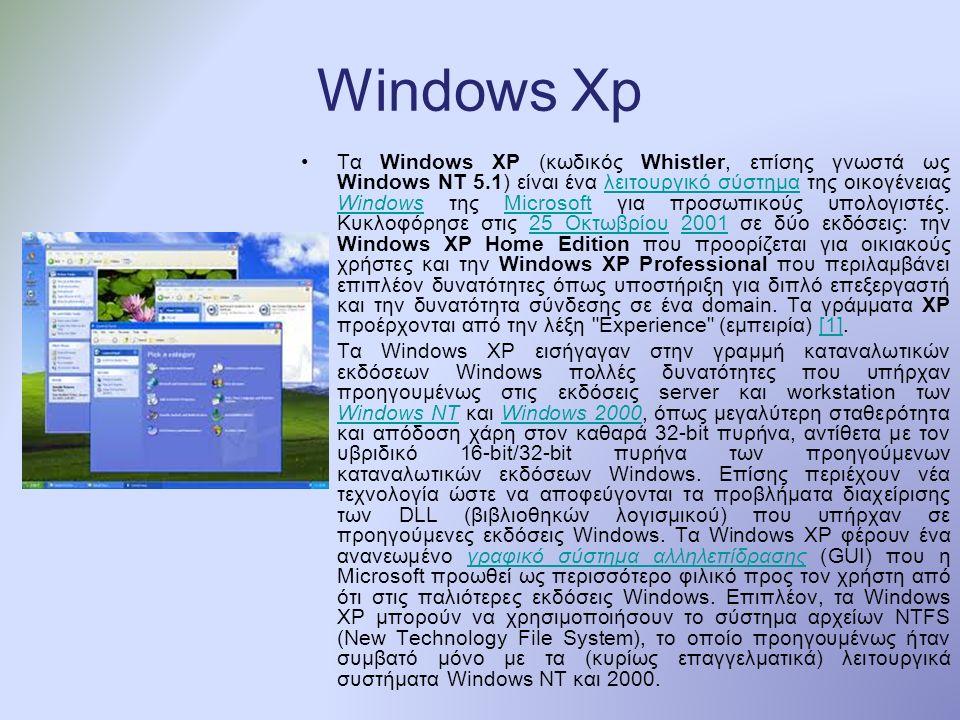 Windows Xp Τα Windows XP (κωδικός Whistler, επίσης γνωστά ως Windows NT 5.1) είναι ένα λειτουργικό σύστημα της οικογένειας Windows της Microsoft για προσωπικούς υπολογιστές.