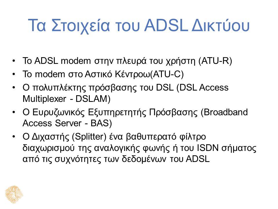 Τα Στοιχεία του ADSL Δικτύου Το ADSL modem στην πλευρά του χρήστη (ATU-R) Το modem στο Αστικό Κέντροω(ATU-C) Ο πολυπλέκτης πρόσβασης του DSL (DSL Access Multiplexer - DSLAM) Ο Ευρυζωνικός Εξυπηρετητής Πρόσβασης (Broadband Access Server - BAS) Ο Διχαστής (Splitter) ένα βαθυπερατό φίλτρο διαχωρισμού της αναλογικής φωνής ή του ISDN σήματος από τις συχνότητες των δεδομένων του ADSL