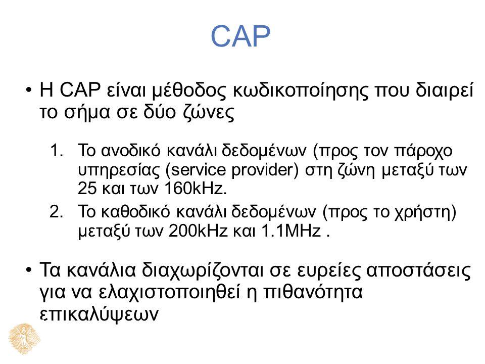 CAP H CAP είναι μέθοδος κωδικοποίησης που διαιρεί το σήμα σε δύο ζώνες 1.Το ανοδικό κανάλι δεδομένων (προς τον πάροχο υπηρεσίας (service provider) στη ζώνη μεταξύ των 25 και των 160kHz.