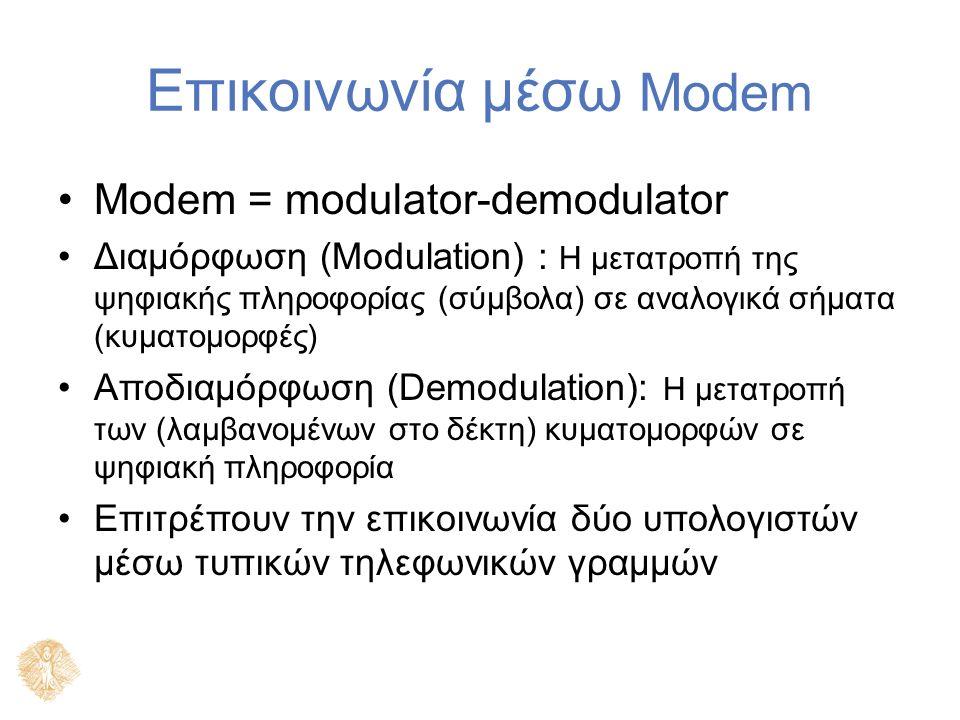 Επικοινωνία μέσω Modem Modem = modulator-demodulator Διαμόρφωση (Modulation) : Η μετατροπή της ψηφιακής πληροφορίας (σύμβολα) σε αναλογικά σήματα (κυματομορφές) Αποδιαμόρφωση (Demodulation): Η μετατροπή των (λαμβανομένων στο δέκτη) κυματομορφών σε ψηφιακή πληροφορία Επιτρέπουν την επικοινωνία δύο υπολογιστών μέσω τυπικών τηλεφωνικών γραμμών