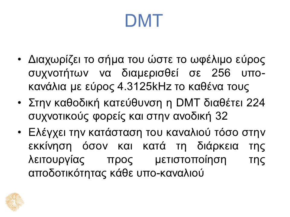 DMT Διαχωρίζει το σήμα του ώστε το ωφέλιμο εύρος συχνοτήτων να διαμερισθεί σε 256 υπο- κανάλια με εύρος 4.3125kHz το καθένα τους Στην καθοδική κατεύθυνση η DMT διαθέτει 224 συχνοτικούς φορείς και στην ανοδική 32 Ελέγχει την κατάσταση του καναλιού τόσο στην εκκίνηση όσον και κατά τη διάρκεια της λειτουργίας προς μετιστοποίηση της αποδοτικότητας κάθε υπο-καναλιού